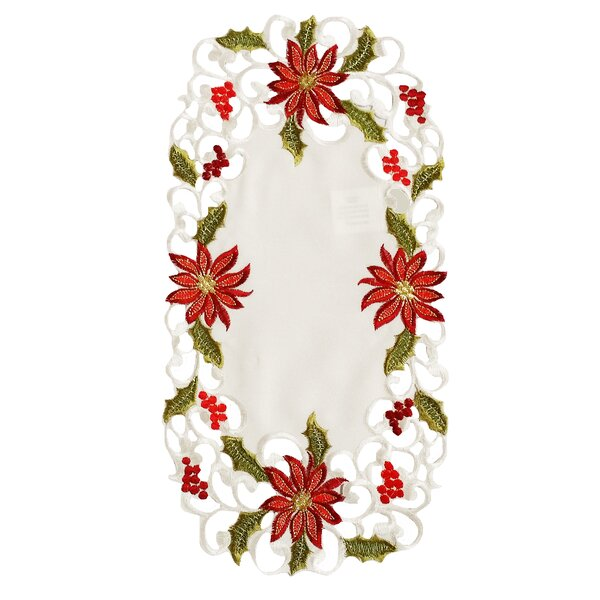 Poinsettia Lace Embroidered Cutwork Tray Cloth (Set of 4) by Xia Home Fashions