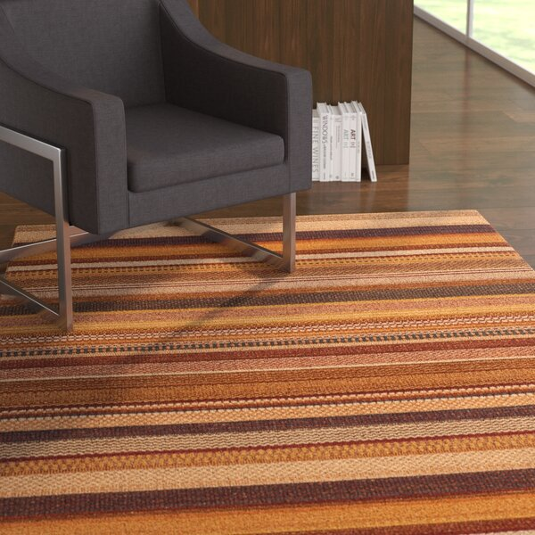 Carper Hand-Woven Rust Striped Area Rug by Latitude Run