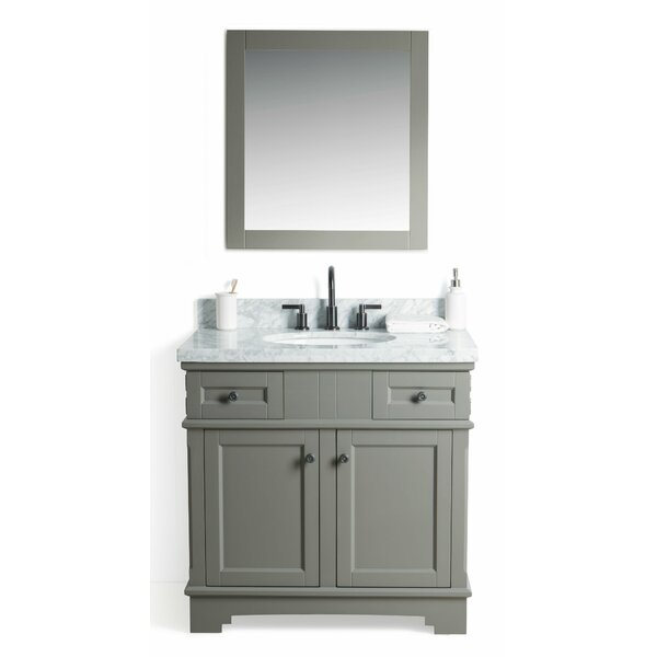 Rhine Solid Wood 37 Single Bathroom Vanity Set with Mirror by Laurel Foundry Modern Farmhouse