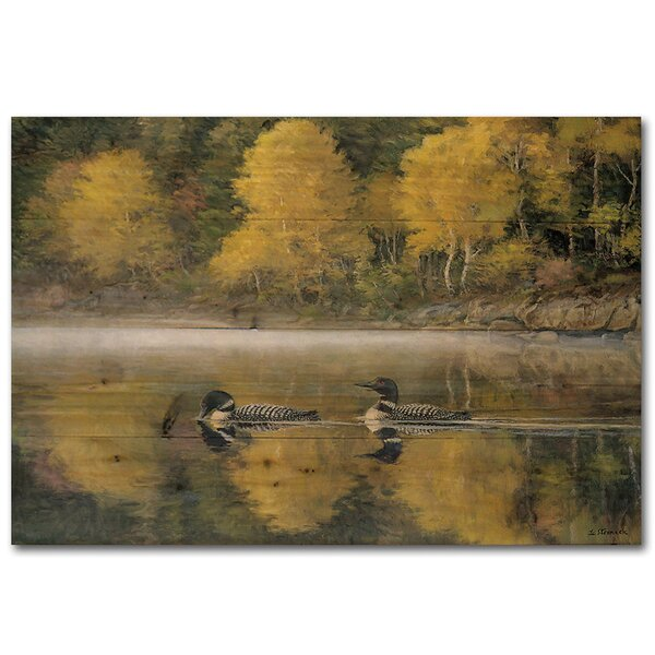 Autumn Morning Shoreline Painting Print Plaque by WGI-GALLERY