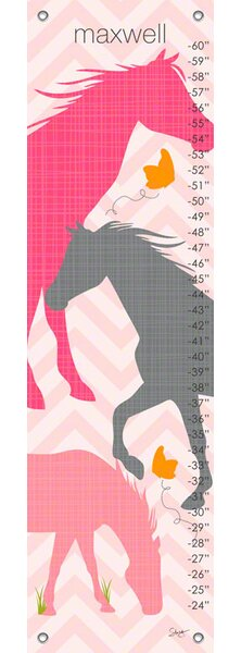 Modern Horses Personalized Canvas Growth Chart by Oopsy Daisy