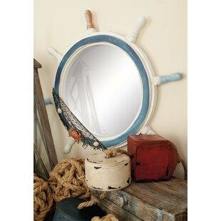 Beachcrest Home Boscawen Round Ship Wheel Wall Mirror