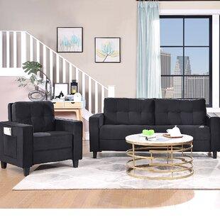 Black Sectional Sofa Set(1+3 Seat) by Latitude Run®