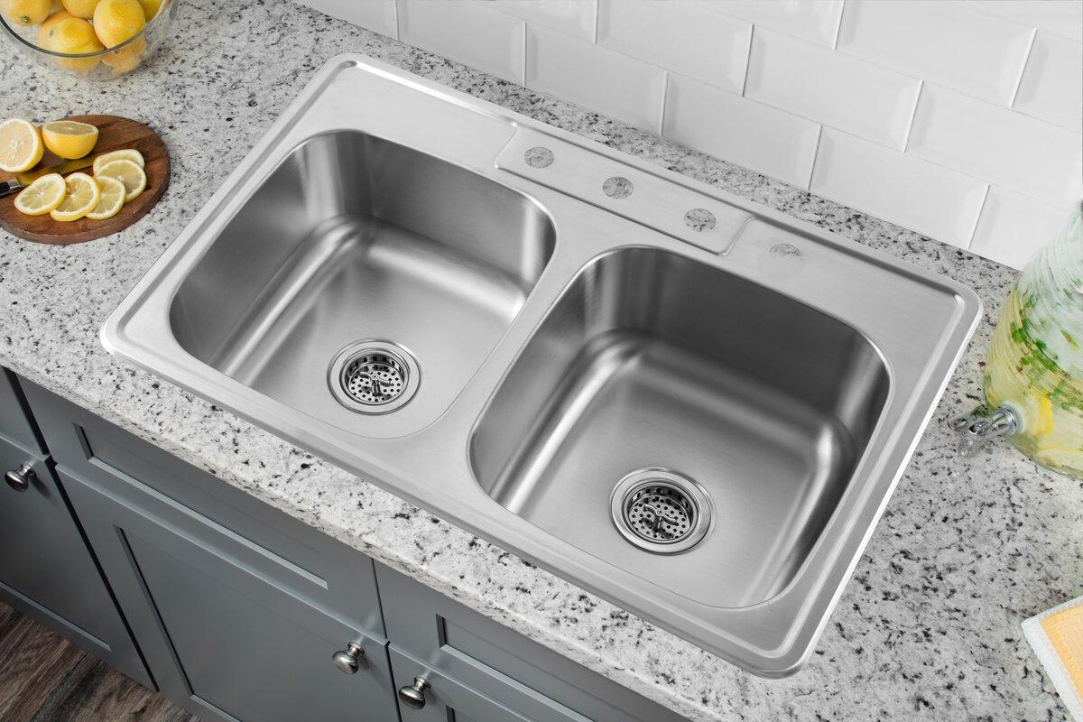 33   x 22   stainless steel drop in double bowl kitchen sink soleil 33   x 22   stainless steel drop in double bowl kitchen sink      rh   wayfair com