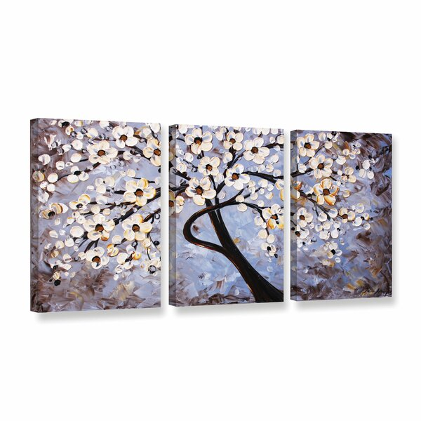 Cherry Blossoms 3 Piece Painting Print on Wrapped Canvas by World Menagerie