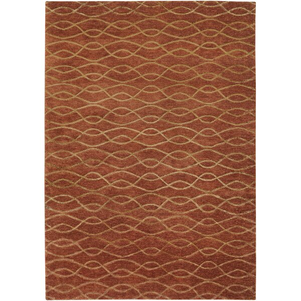 Viluppuram Hand-Knotted Brown Area Rug by Meridian Rugmakers