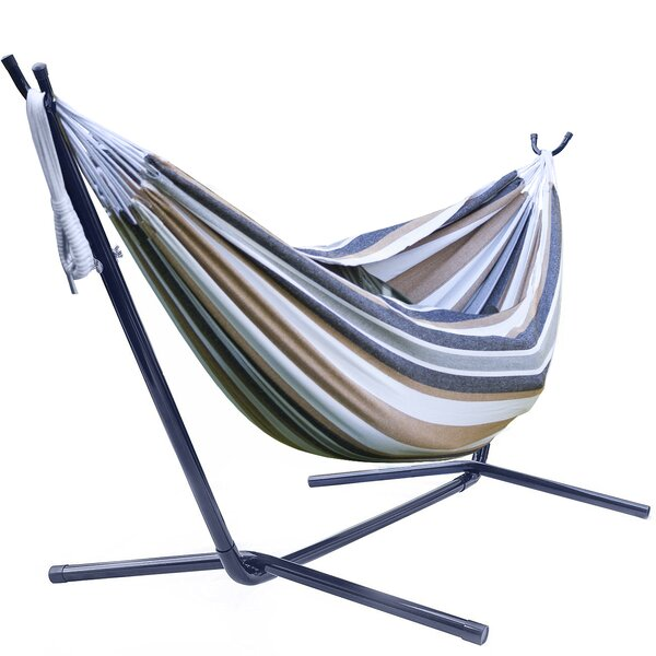 Karev Double Adjustable Cotton Hammock with Stand by Ebern Designs Ebern Designs