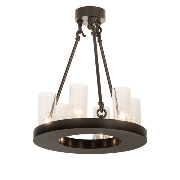 Yearwood 6 - Light Shaded Wagon Wheel Chandelier By Loon Peak