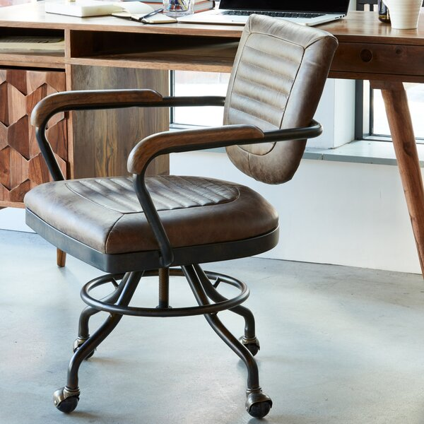 DuBois Leather Desk Chair by 17 Stories