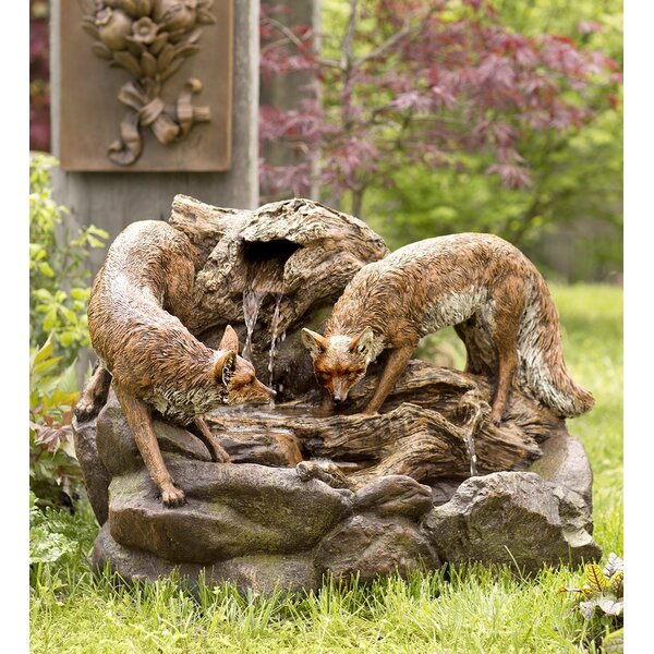 Lighted Foxes Fountain with LED Light by Wind & Weather