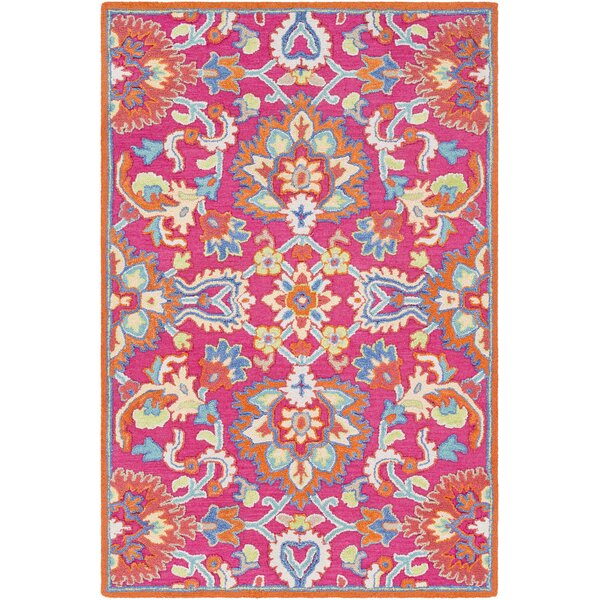 Withams Floral Hand Tufted Wool Bright Pink/Coral Area Rug by Bungalow Rose