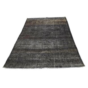 Affordable One-of-a-Kind Cairo Vintage Overdyed Pure Hand-Knotted 3'9 x 6'4 Wool Black Area Rug By Isabelline