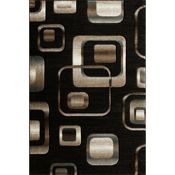 Lina Hand Carved Squares Black Area Rug by Winston Porter