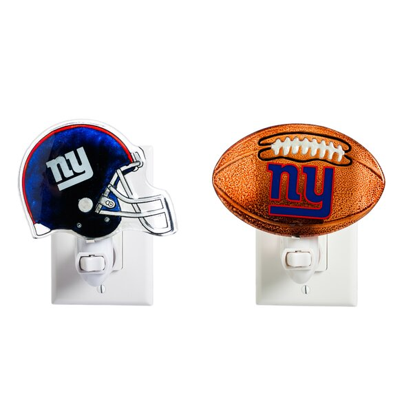 New York Giants Glass 2 Piece Night Light Set by Evergreen Enterprises, Inc