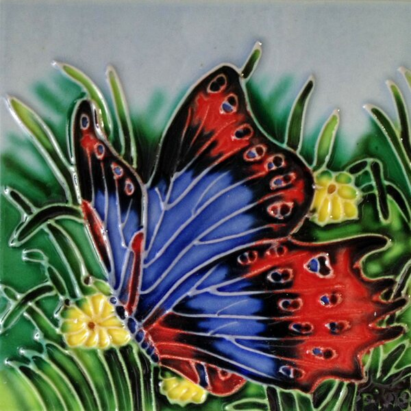 Blue/Red Butterfly Tile Wall Decor by Continental Art Center
