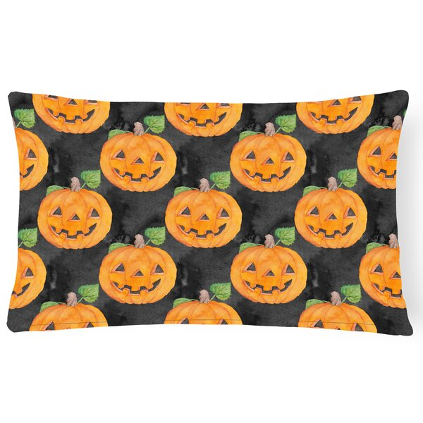 Lisbon Watercolor Halloween Jack-O-Lantern Indoor/Outdoor Throw Pillow by The Holiday Aisle