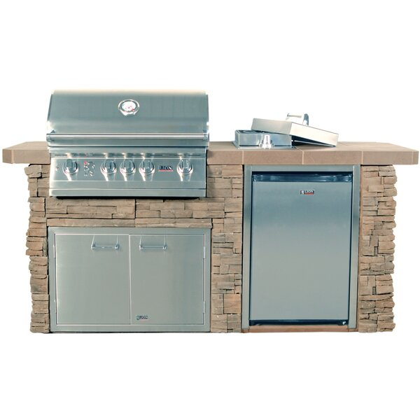 Sensational Q Rock 4-Burner Built-In Gas Grill with Side Shelves by Lion Premium Grills