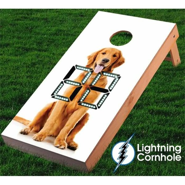 Electronic Scoring Golden Retriever Cornhole Board by Lightning Cornhole