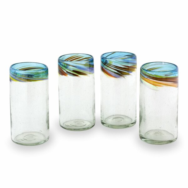 Hand Blown Recycled 12 Oz. Water Glass (Set of 4) by Novica