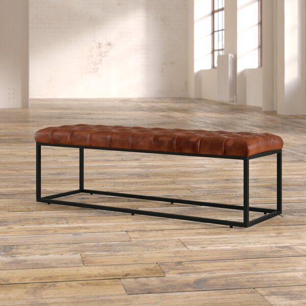 Lorilee Genuine Leather Upholstered Bench by Williston Forge