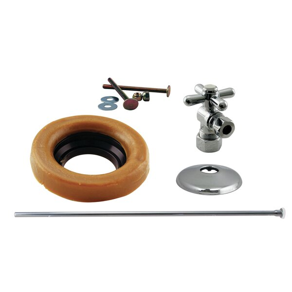 Toilet Kit with Turn Nom Comp Stop and Wax Ring Cross Handle by Westbrass