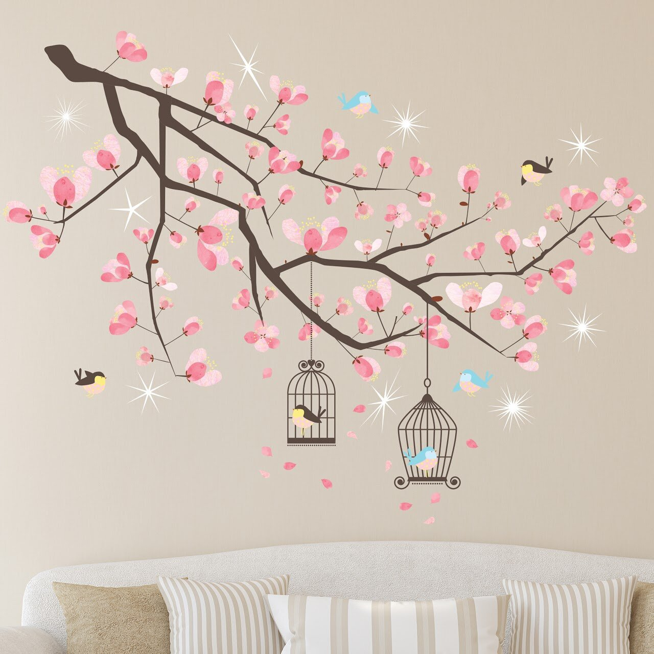 Winston Porter Crystal Cherry Blossom Tree 18 Pieces Wall Decal