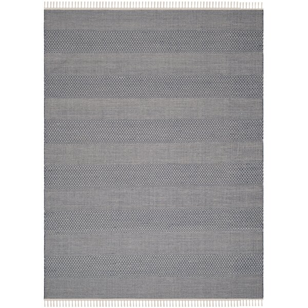 Jermyn Hand-Woven Ivory/Navy Area Rug by Gracie Oaks