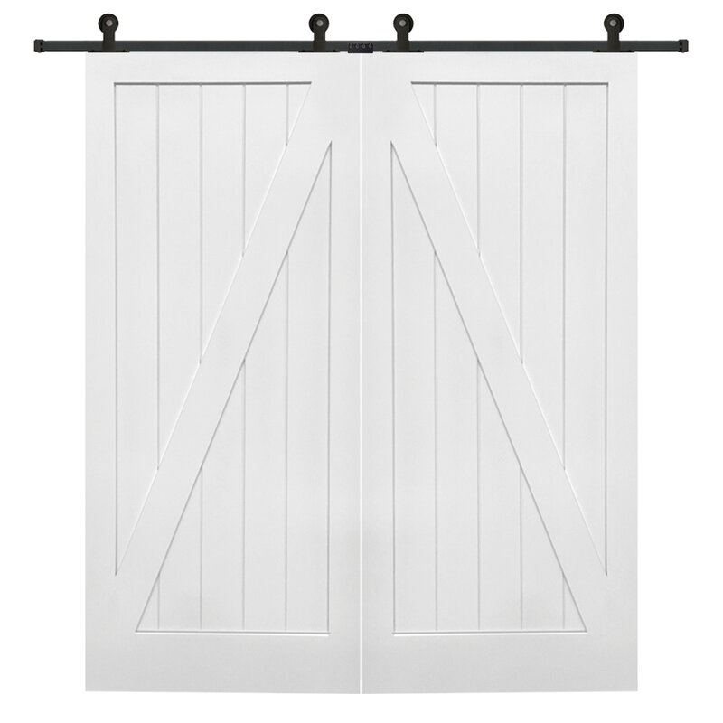 white barn door. Double Stile And Rail Z Planked MDF 2 Panel White Interior Barn Door With Hardware O