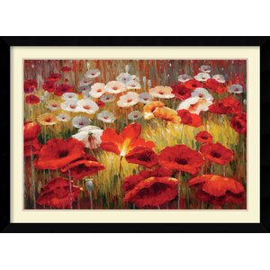'Meadow Poppies II' by Lucas Santini Framed Painting Print by Amanti Art