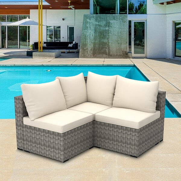 Midtown 3 Piece Rattan Sectional Seating Group with Cushions by Latitude Run