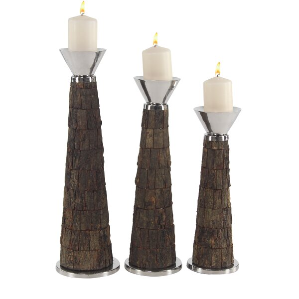 Rustic 3 Piece Metal Candlestick Set by World Menagerie