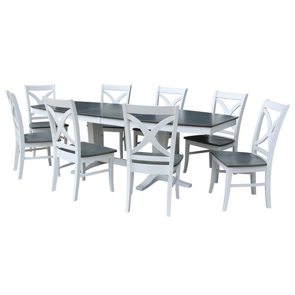 Aarush 9 Piece Extendable Solid Wood Dining Set by Rosecliff Heights