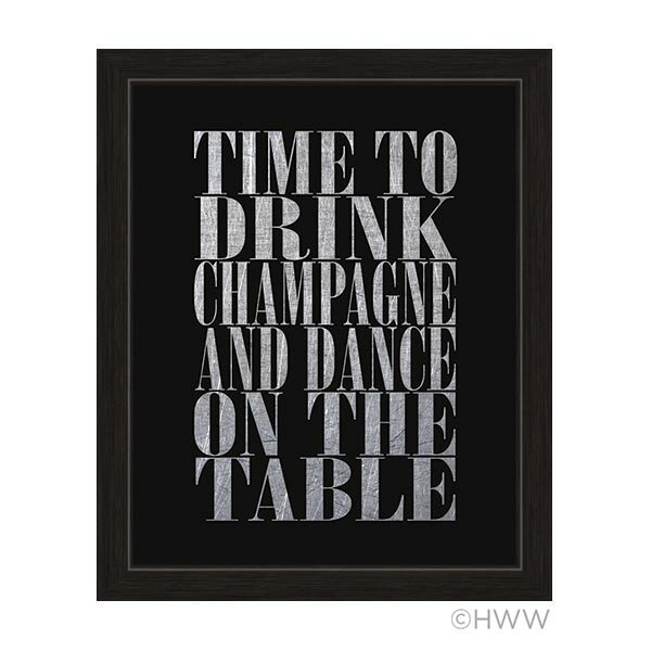 Time to Drink Champagne Framed Textual Art in Silver by Click Wall Art