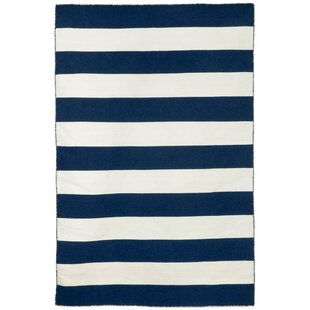 Find for Ranier Stripe Hand-Woven Navy Indoor/Outdoor Area Rug ByBeachcrest Home