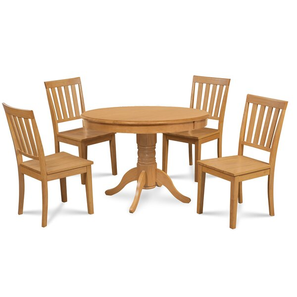 Cedarville 5 Piece Oak Solid Wood Dining Set by Alcott Hill