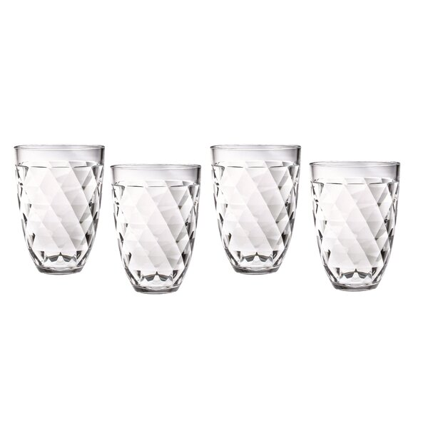 Diamondback 12 oz. Plastic Every Day Glass (Set of 4) by Chenco Inc.