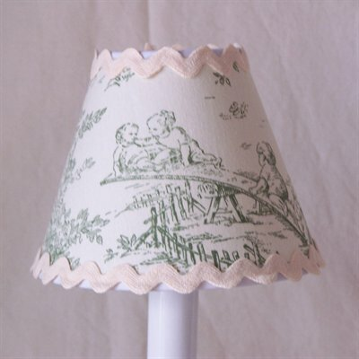 Central Park 7 H Fabric Empire Lamp Shade ( Screw On ) in White/Green