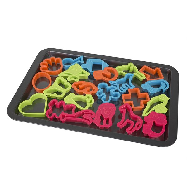 Cookie Sheet with 22 Cookie Cutters by Home Basics