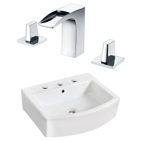 Ceramic 22 Bathroom Sink with Faucet and Overflow by Royal Purple Bath Kitchen