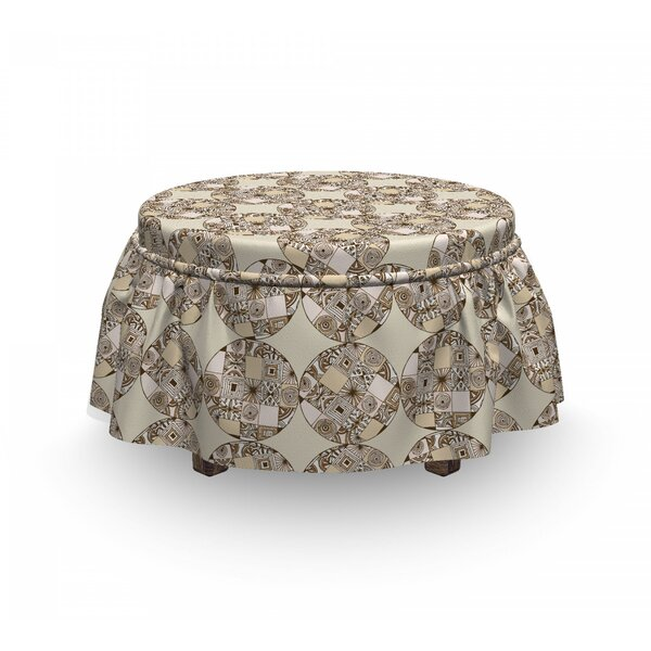 Native Geometric Circles Ottoman Slipcover (Set Of 2) By East Urban Home