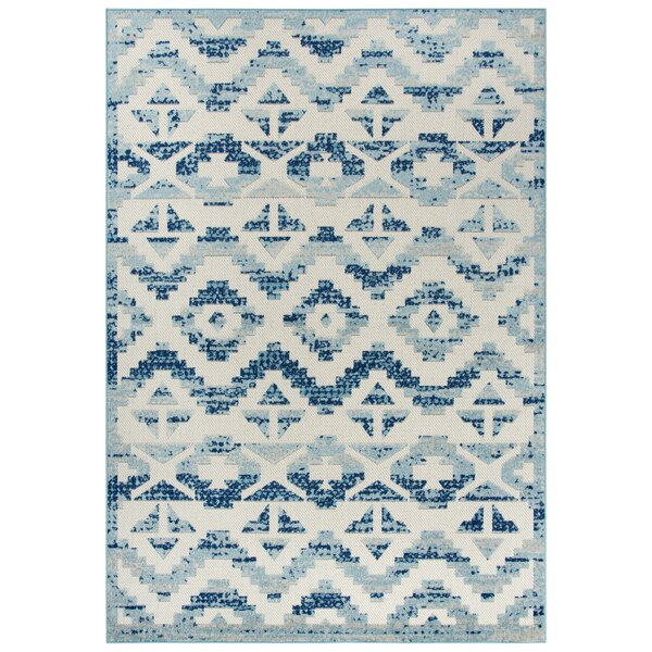 Griggs Cream/Blue Area Rug by Bungalow Rose