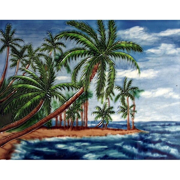 Leaning Palm Water Tile Wall Decor by Continental Art Center