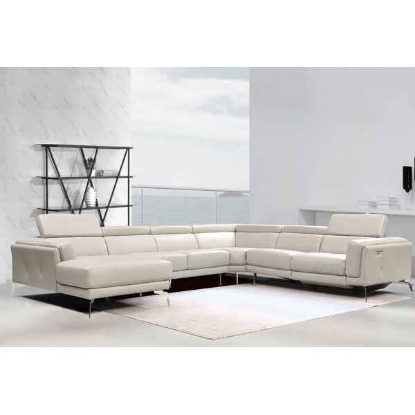 Falsterbo Leather Left Hand Facing Reclining Sectional By Orren Ellis