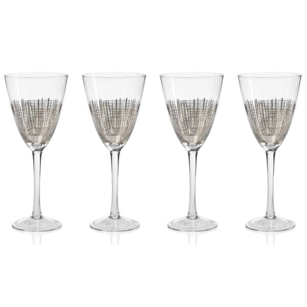 Reza Crosshatch Glass 13.5 oz. All Purpose Wine Glass (Set of 4) by Zodax