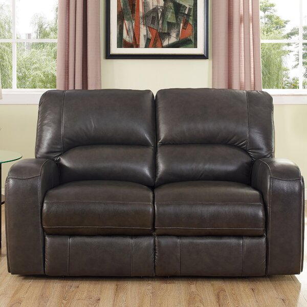 Woodhull Leather Reclining Loveseat by Red Barrel Studio