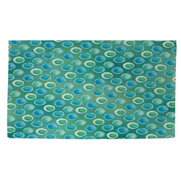 Aqua Bloom Dots Area Rug by Manual Woodworkers & Weavers