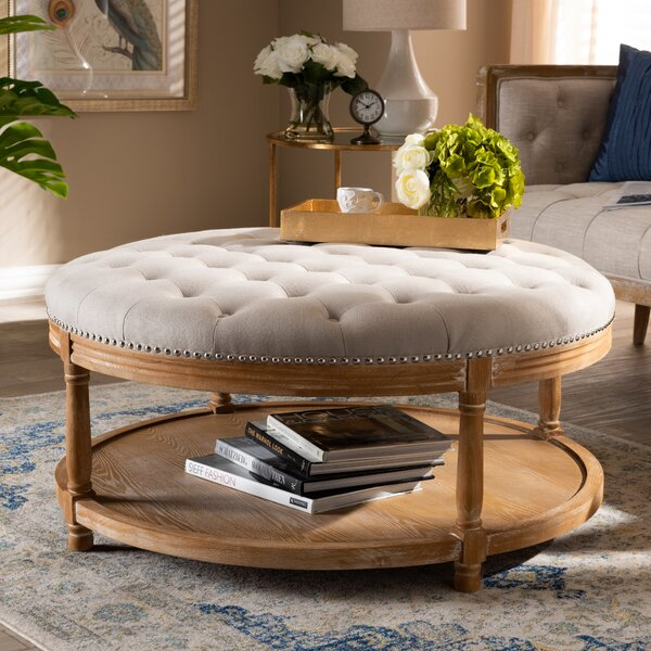 Ansel French Upholstered Tufted Cocktail Ottoman