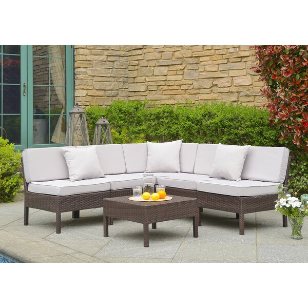Mccubbin 6 Piece Rattan Sectional Set with Cushions by House of Hampton