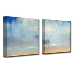 'Coastal Downpour ' by Norman Wyatt Jr. 2 Piece Painting Print on Wrapped Canvas Set by Ready2hangart