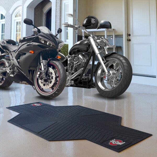 NCAA Ohio State University Motorcycle Garage Flooring Roll in Black by FANMATS